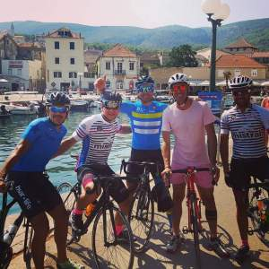 Photo with IVAN BASSO - two times GIRO D'ITALIA WINNER in Jelsa shooting a promotional video about cycling in Hvar